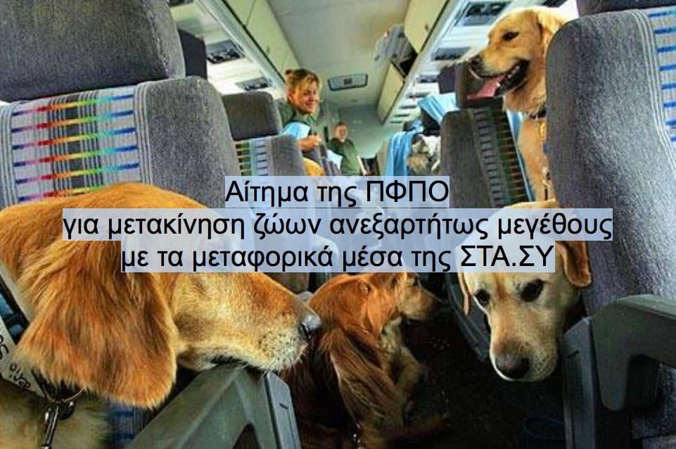 Αίτημα της ΠΦΠΟ για μετακίνηση ζώων ανεξαρτήτως μεγέθους με τα μεταφορικά μέσα της ΣΤΑΣΥ