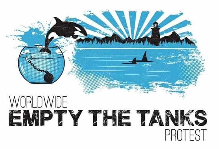 Ειρηνική διαμαρτυρία Empty The Tanks εναντίον των φυλακισμένων θαλάσσιων θηλαστικών