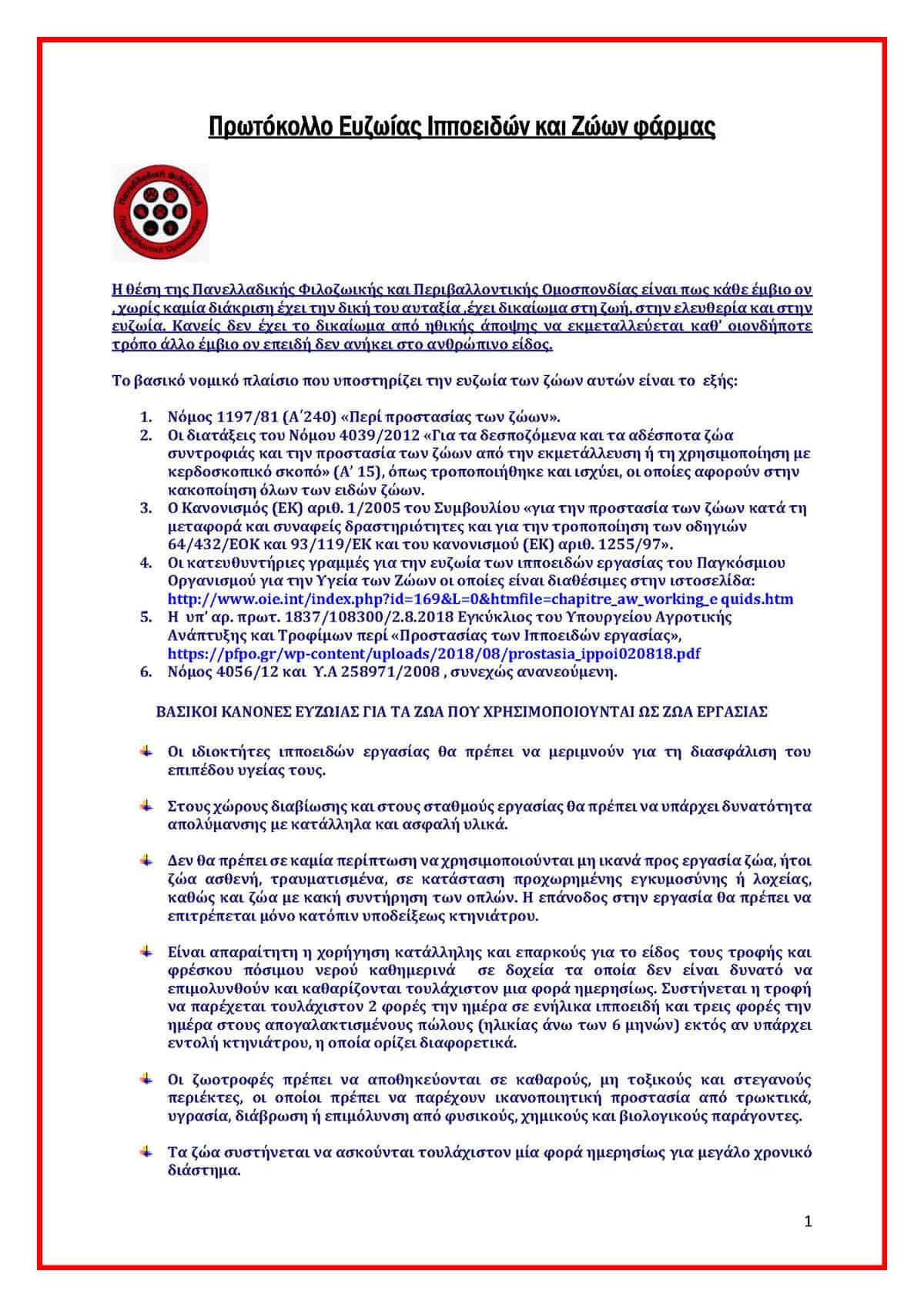 Πρωτόκολλο Ευζωίας Ιπποειδών και Ζώων φάρμας / Protocol on Animal Welfare of Equines and Farm Animals